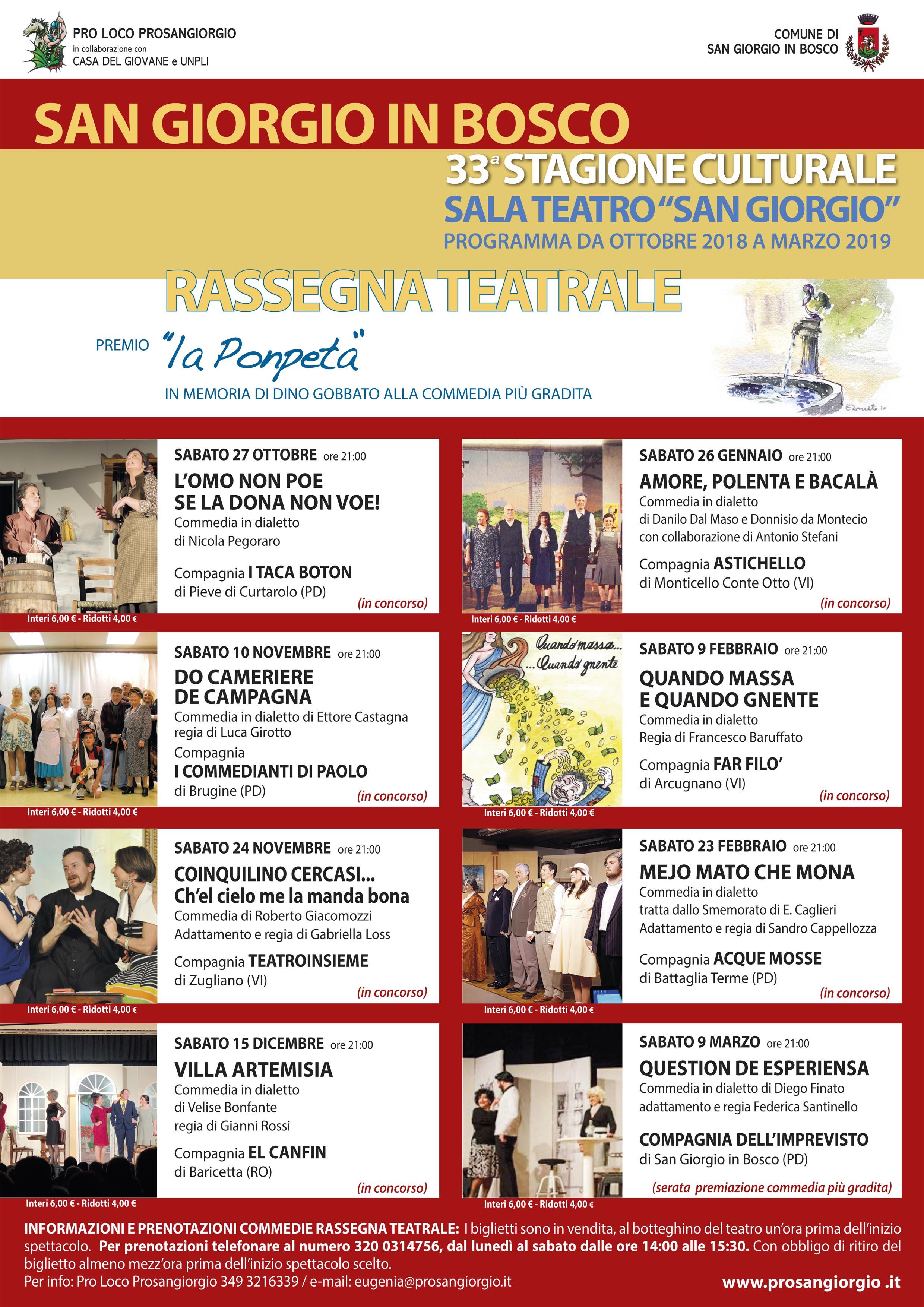 Comune Di Arcugnano Concorsi 33^ rassegna teatrale san giorgio in bosco | pro loco